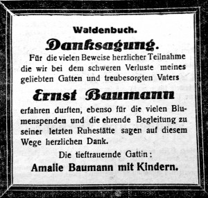 Danksagung für Ernst Baumann. Filder-Bote 05.12.1028