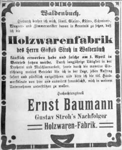 Anzeige Geschäftsübernahme, Filder-Bote 26.03.1908
