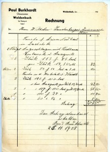 1938. Rechnung für Wilhelm Landenberger
