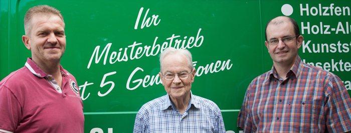 Drei Glasermeister. vl. Klaus, Paul und Jochen Burkhardt